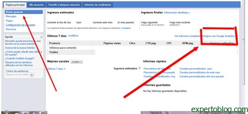 adsense analytics nueva interface